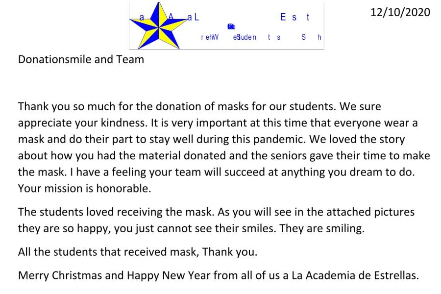 La Academia Dallas School Kids Masks Donation Thank You Letter